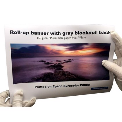 "Roll-up banner med ""Blocker"""